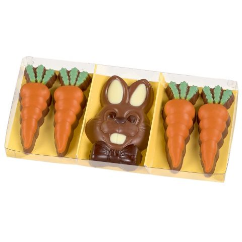 Bunny & Carrots - Gwynedd Confectioners Novelty Easter Chocolates Gift Box 95g